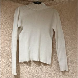 Marisa Christina White Pullover Mock Sweater
